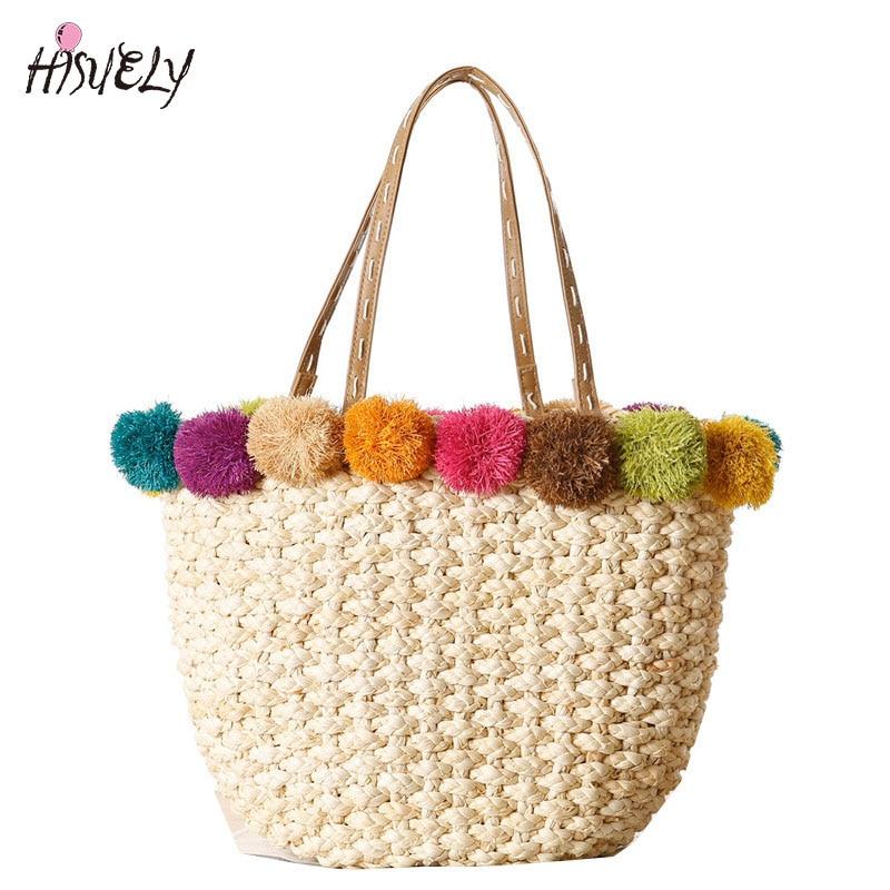 HISUELY Hot Sale Raffia & Corn Skin Beach Bag Handmade Women Handbags Straw Bag Bohemia Holiday Shoulder Bags Causal Tote Gift