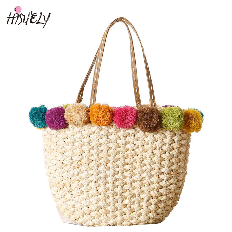 Luggage & Bags Shoulder Bags Constructive Hisuely Hot Sale Raffia & Corn Skin Beach Bag Handmade Women Handbags Straw Bag Bohemia Holiday Shoulder Bags Causal Tote Gift