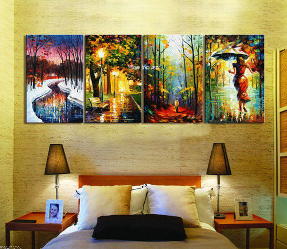 4 piece abstract modern canvas wall art decorative Palette font b Knife b font paint handmade