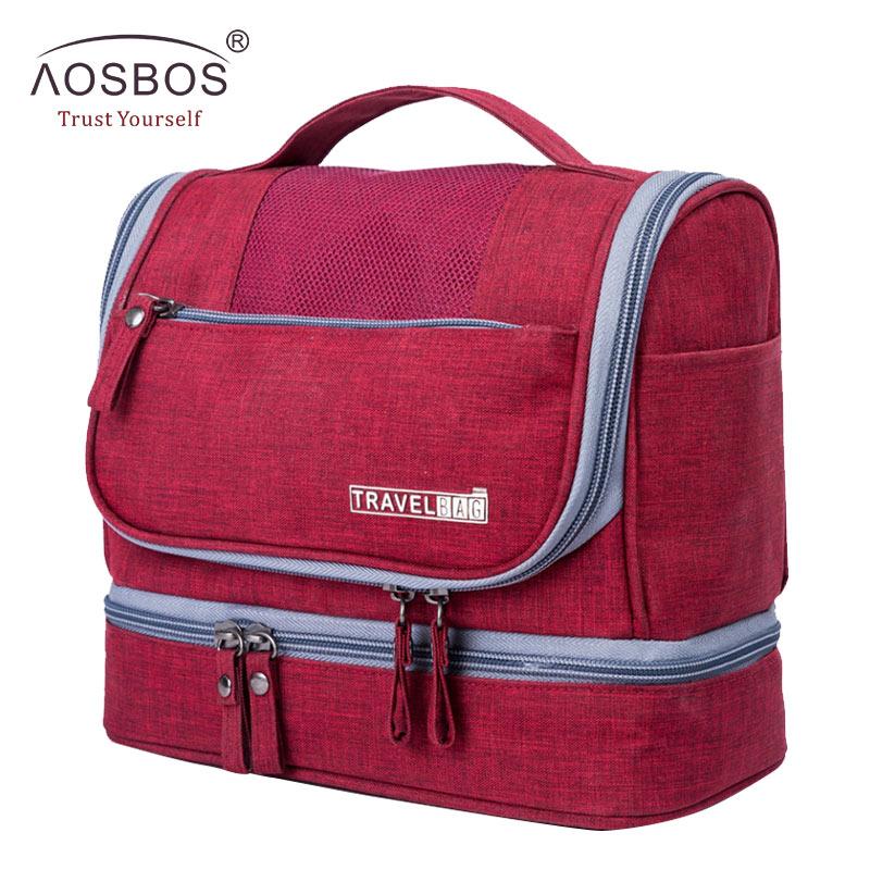 Aosbos Portable Waterproof Travel Cosmetic Bag Toiletry Kits Storage Bags For Men Women Organizer Large Hanging Makeup Bag