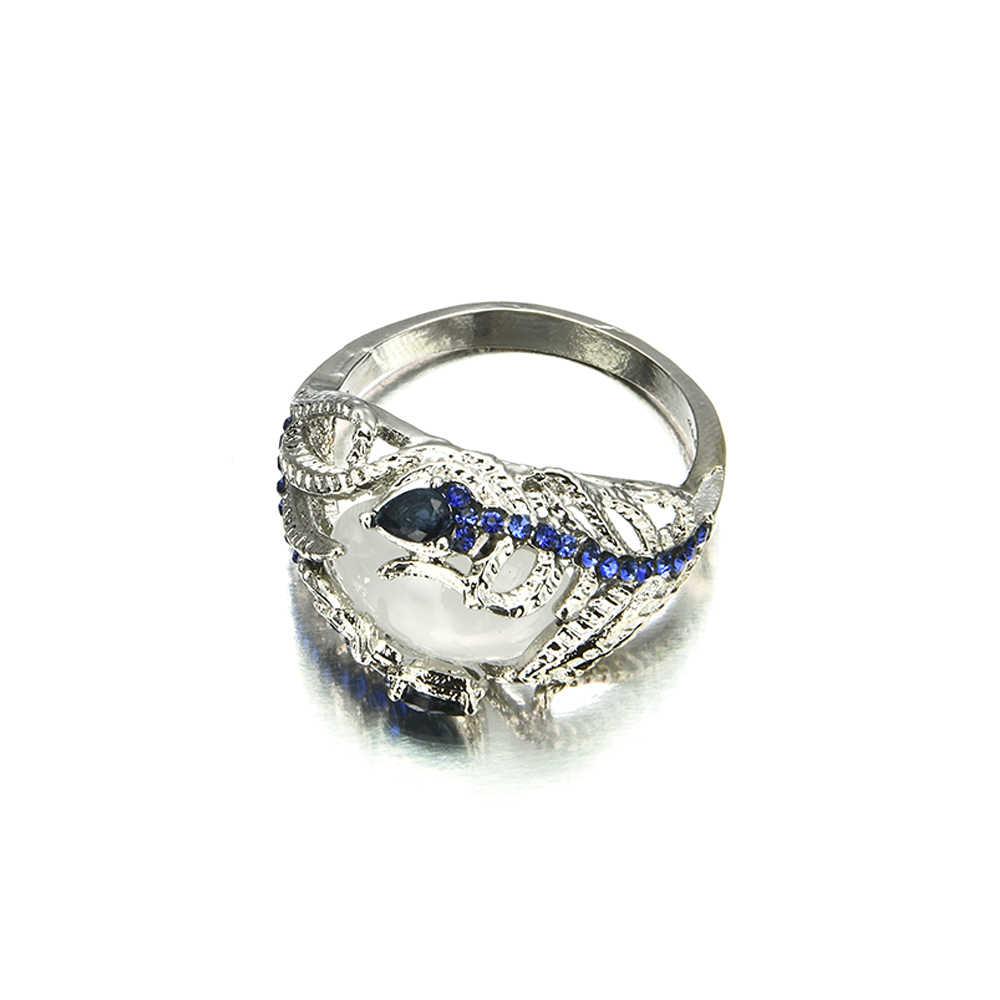 Fashion Women Lady Elegant  Huge Moonstone Wedding Party Bride Ring Engagement Blue Rhinestone Crystal Rings Jewelry