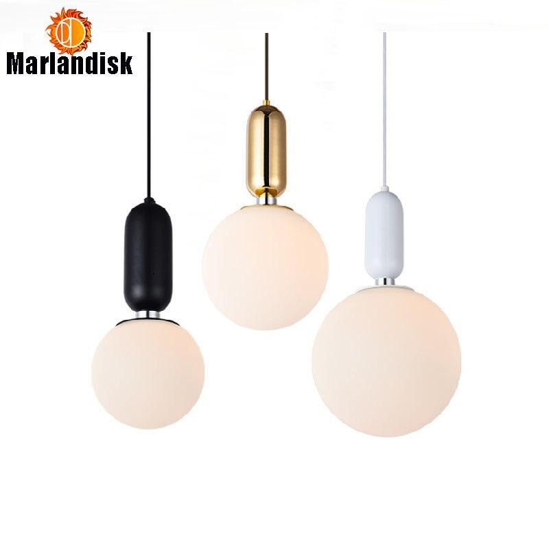 Modern Fashional Bedroom Pendant Light E27 Indoor Black White Golden Glass Ball Hanging Light For Living Room Dining Room fashional modern black