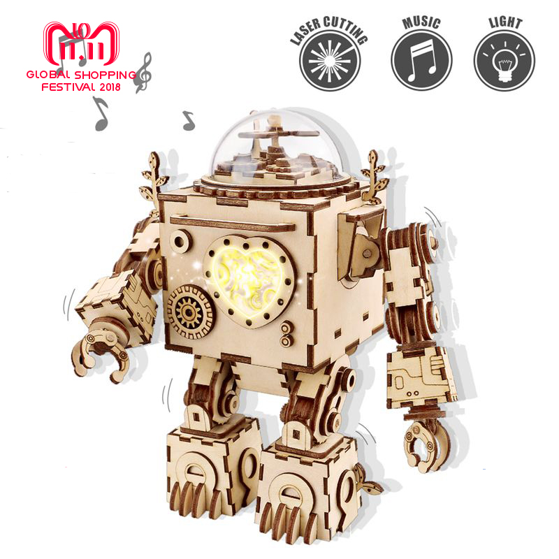 Robud DIY Assembled Wooden Model Building Kits Robot Model with Music Box Toy for Children Adult New Year Christmas Gift AM601 diy model building kits robot puzzle desktop toys assembled learning educational toy children bricks assembling classic gift