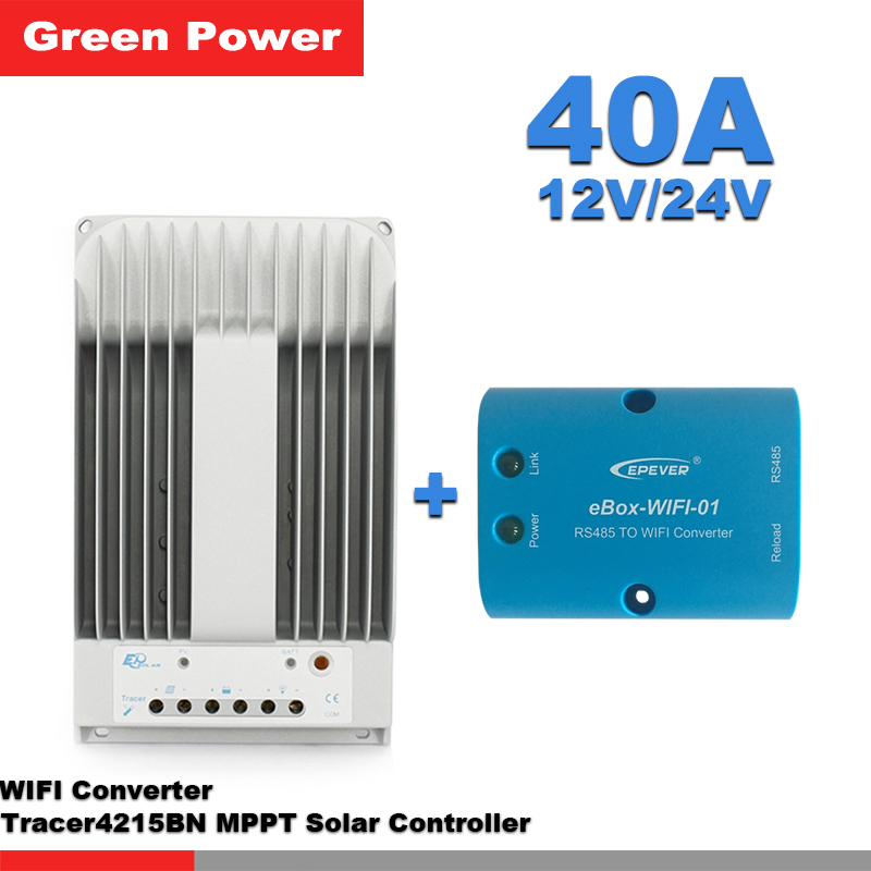 US $243 9 45% OFF|Tracer4215BN 40A 12V/24V Solar Charge Controller with  eBox WIFI Android APP module connect solar panel charge battery for home-in