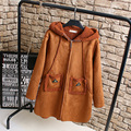 Suede Trench Coat for Women Casual Plus Size 3XL Pockets Zipper Loose Warm Thick Hooded Winter Long Trench Blue Khaki KK2230