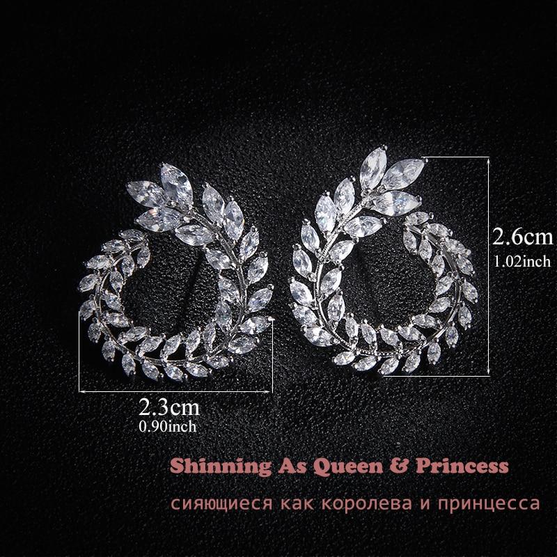 Lüks Marka Yeni Moda Zeytin Şekli AAA + Kübik Zirkon Saplama Küpe - Kostüm mücevherat - Fotoğraf 2