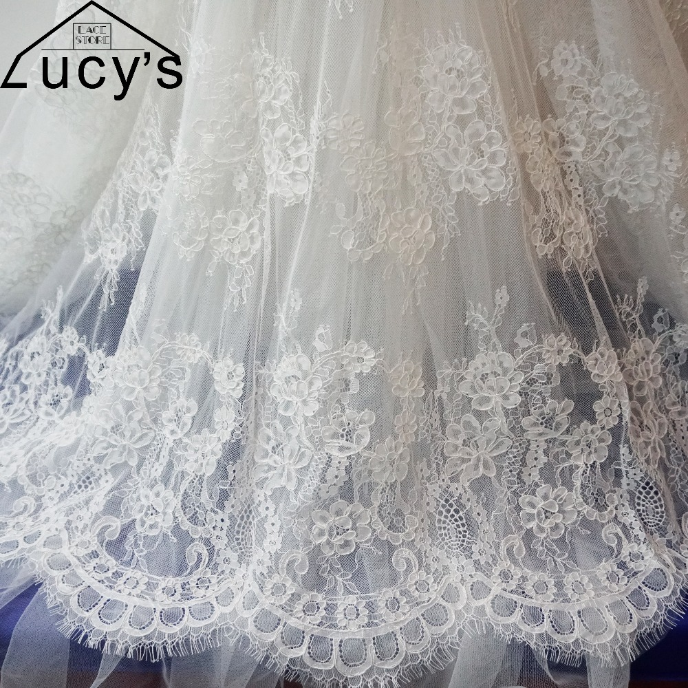 3 meters piece Corded french lace fabric Off white wedding dress eyelash lace tissue good quality