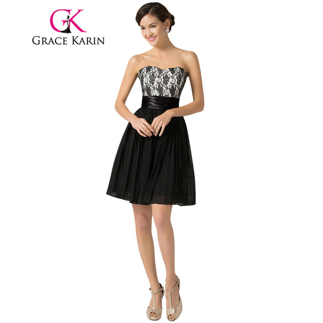 73438b2ed1863 Grace Karin Sweetheart Short Black Prom Dresses Elegant Little Black Cute  Girl Party Dress Chiffon Lace Robe De Cocktail