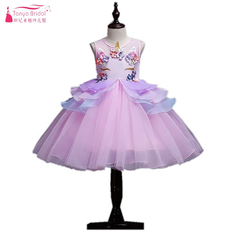 5-10 Knee Length Sleeveless Ruffles   Flower     Girls     Dresses   Pink Wedding Party   Dress   Kids Pageant Formal Occasion Prom Gown DQG430