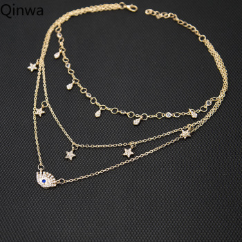 Boho Crystal Eye and Stars Multilayer Pendant Necklace