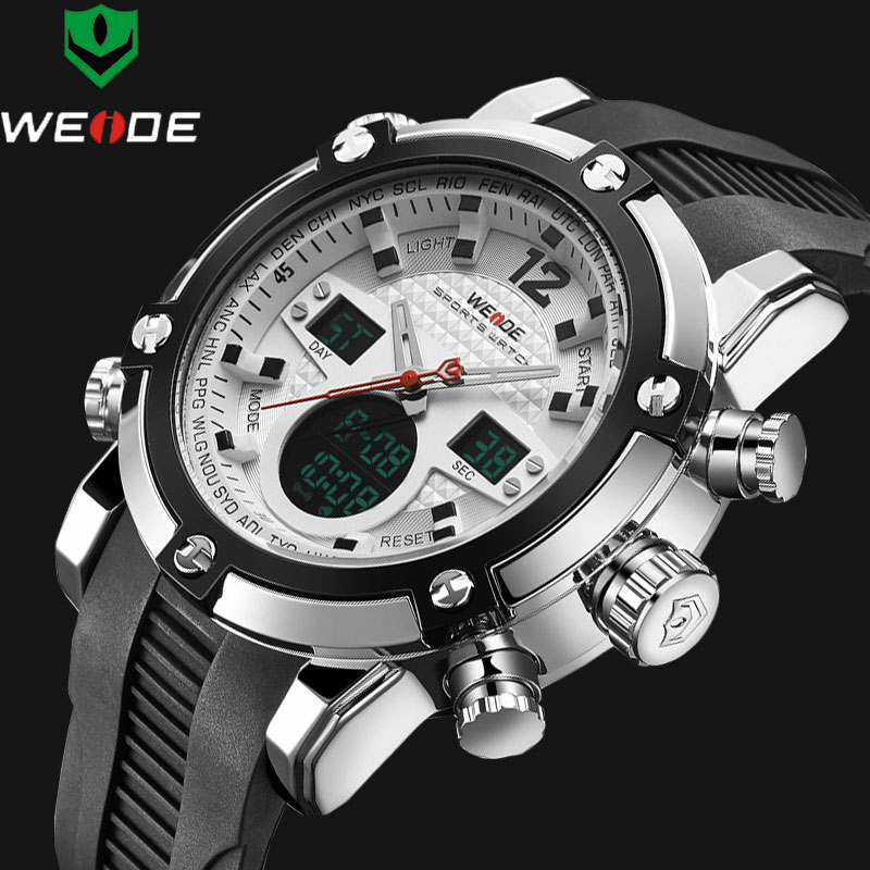 WEIDE  Luxury Brand Men watch Dual Time Zone Black LCD Digital Alarm Siliconne Strap Relogio Quartz-Clock  Sport Man Wristwatch