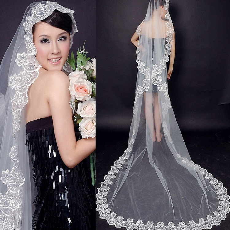 280cm Super Long Tail Tulle Lace Veil Bride Wedding Derss Cathedral Marry Inspiration Design Creation White Mesh Sequin Fabric
