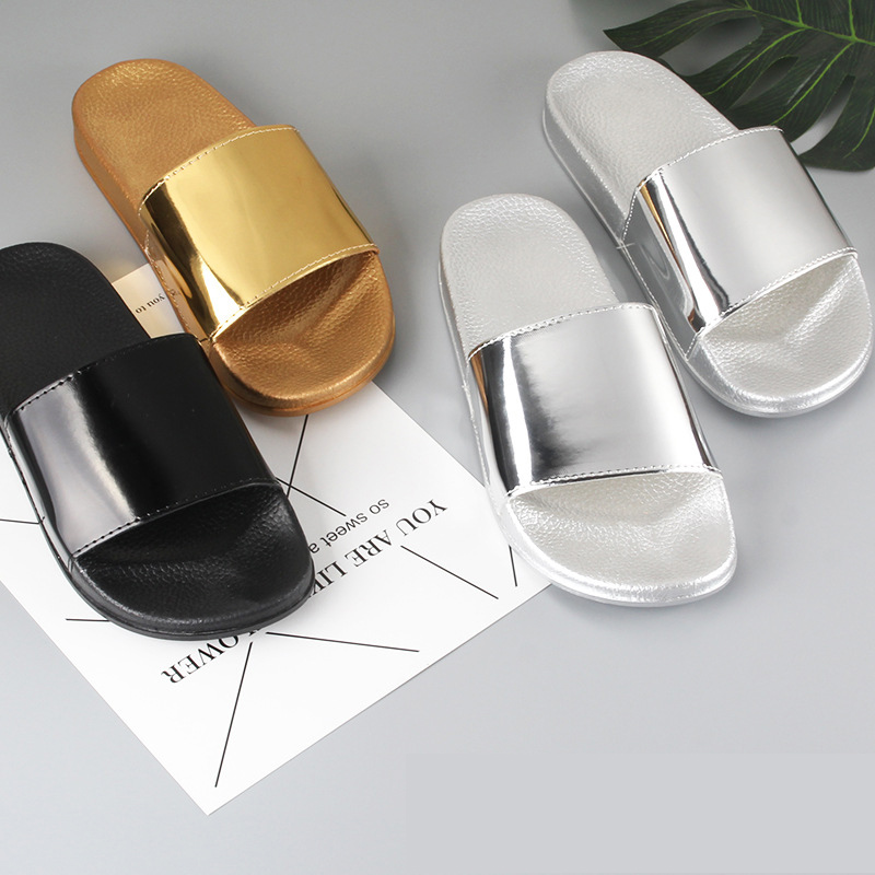 Summer Slippers Bling Women Slides Soft Sole Glitter Indoor & Outdoor Sandals Beach Slides Flip Flops Women Shoes Gold Silver 1