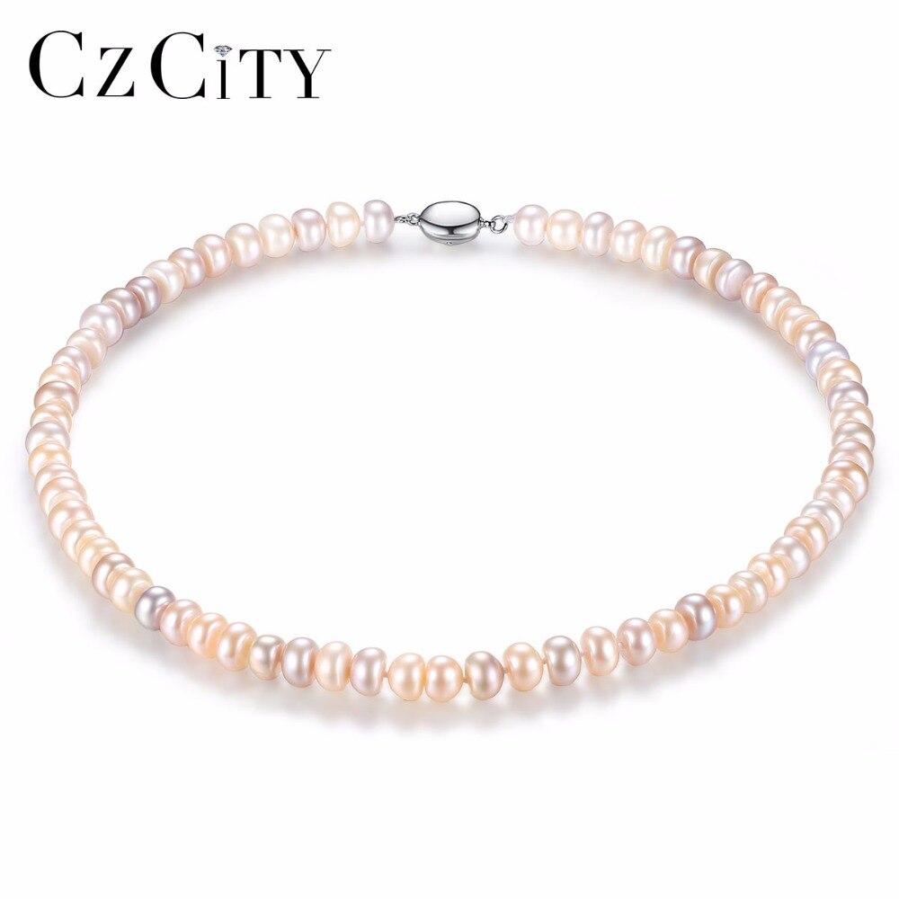 CZCITY Rétro Style 8-9 MM Multicolore Perle D'eau Douce Collier pour Femmes Nouvelle Conception Fine Bijoux Perle de Foulard Cadeau