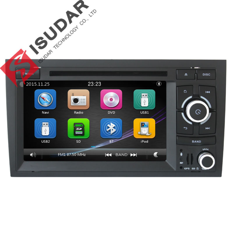 цена на Isudar Car Multimedia Player Car Radio GPS 2 Din For Audi/A4 2002-2008 Canbus Capacitive Touch Screen DVD Player Microphone FM