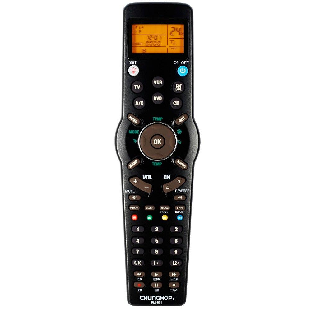 Gros Chunghop RM-991 TV/SAT/DVD/CBL/CD/AC/MAGNÉTOSCOPE télécommande universelle d'apprentissage pour 6 filets dans 1 code