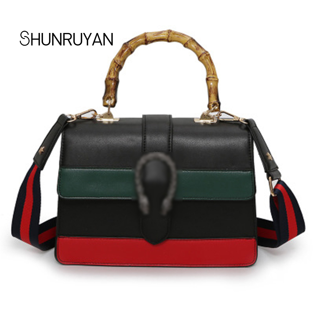 SHUNRUYAN 2018 New Stars High Quality PU red white green style Casual Women for bag Shoulder bags Cross body bags Ladies bag chains belt ladies bags for women new design fashion women flap cross body bags korean style spring shoulder bag