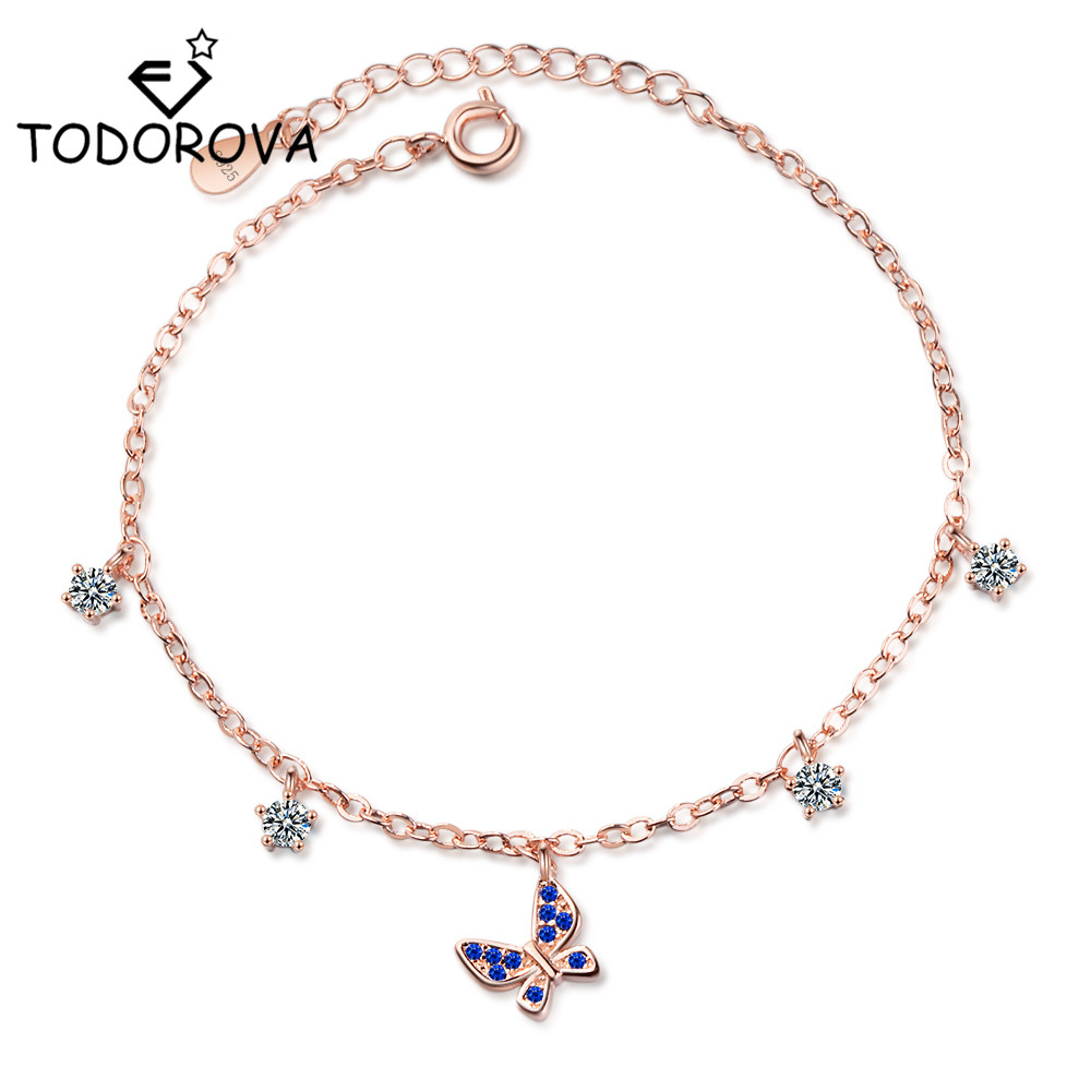 Todorova Elegant Cubic Zirconia Crystal Butterfly Charms Bracelets for Women Link Chain Rose Gold Color Dropshipping