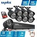 SANNCE 1080N HD 5IN1 8CH 720 P Sistema de CFTV DVR 8 PCS 1280*720 P 1.0MP CCTV Câmeras de Segurança In/Outdoor de Vigilância kit 1 TB HDD