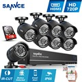 SANNCE 8-КАНАЛЬНЫЙ 720 P Системы ВИДЕОНАБЛЮДЕНИЯ 1080N HD 5IN1 DVR 8 ШТ. 1280*720 P 1.0MP CCTV Камеры Безопасности в/Открытый комплект Видеонаблюдения 1 ТБ HDD