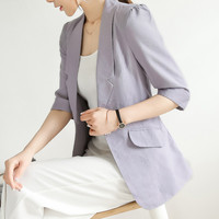 S 4Xl New Fashion Long Length Cool Summer Slim Fit Women Blazer With Three Quarter Sleeve