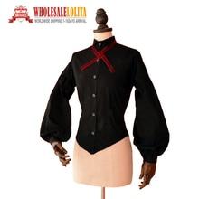 Victorian Edwardian Women Black Vintage Blouse Top Collared Shirt Vampire Reenactment Theater Halloween Costume