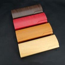 Ретро Имитация древесины зерна квадратная складная коробка солнцезащитные очки коробка милый портативный Чехол для очков модный принт холст коробка для хранения очков