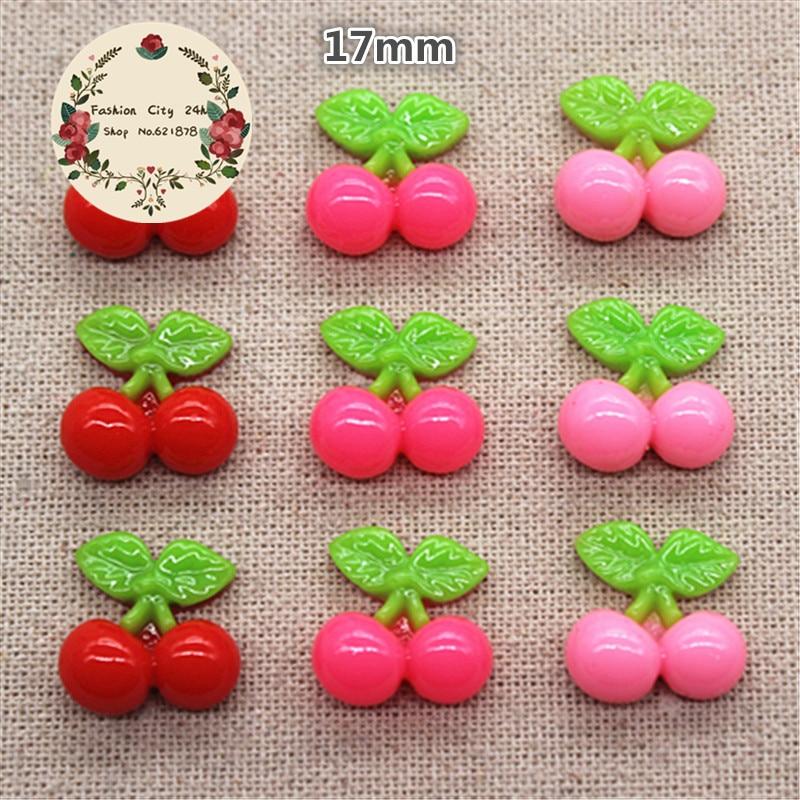 30pcs Kawaii Fruit Cherry Resin Miniature Food Art Supply Flatback Cabochon DIY hai Bow Center Scrapbooking,17*17mm
