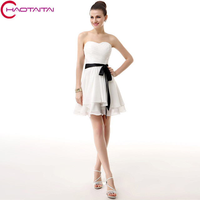 Homecoming Dresses White Real Image A Line Custom Made Plus Size ...