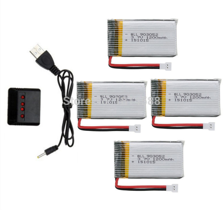 SYMA X5SW X5SC X5S X5SC-1 M18 H5P RC quadcopter 3.7v 1200mah upgrade Li-polymer battery*4pcs+ charger case free shipping