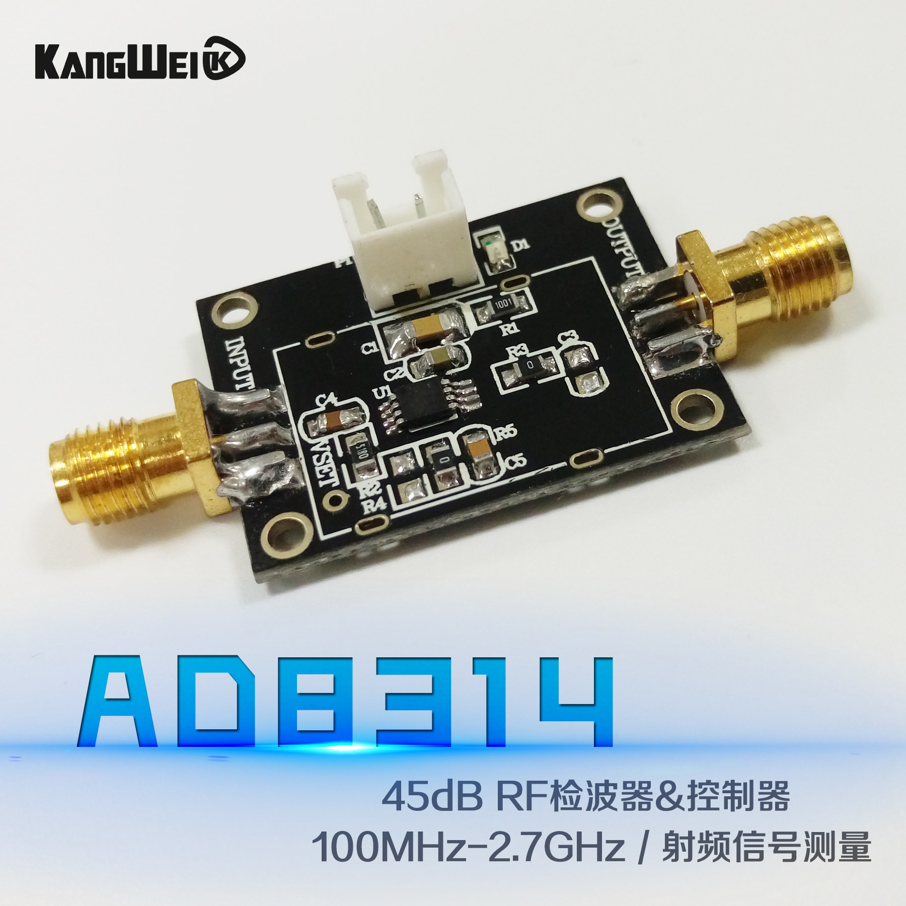 AD8314 module 45dB RF detector / controller 100MHz-2.7GHz radio frequency signal measurement ad8314 module 45db rf detector controller 100mhz 2 7ghz radio frequency signal measurement