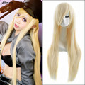 80cm Beige Long Straight Anime Noragami Bishamon Cosplay Harajuku Women's Wigs Cheap Synthetic Hair Blonde Women Wig Halloween