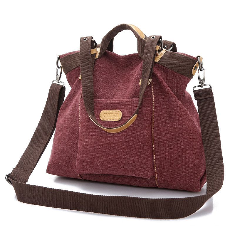 Canvas Bag Stylish Simple Handbag Large Multifunctional Hobo Bag Ladies Soft Simple Shoulder Bag