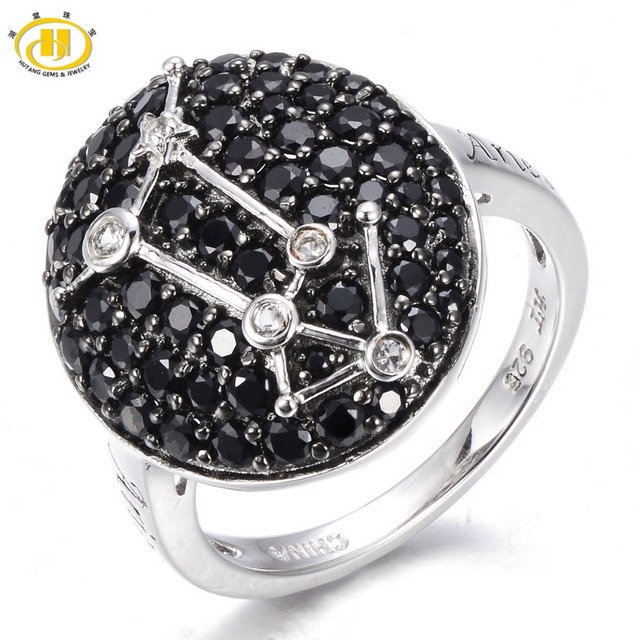Hutang Aries Zodiac Sign Black Spinel & White Topaz Ring Solid 925 Sterling Silver Fine Jewelry Birthday Gift Women's