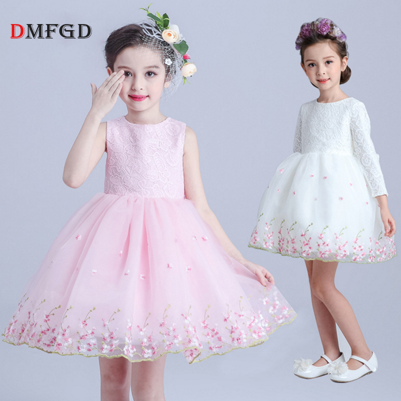 Fashion child dress sleeveles children princess dress flower ball gown girls clothing performance party white lace dress 100-150 цена