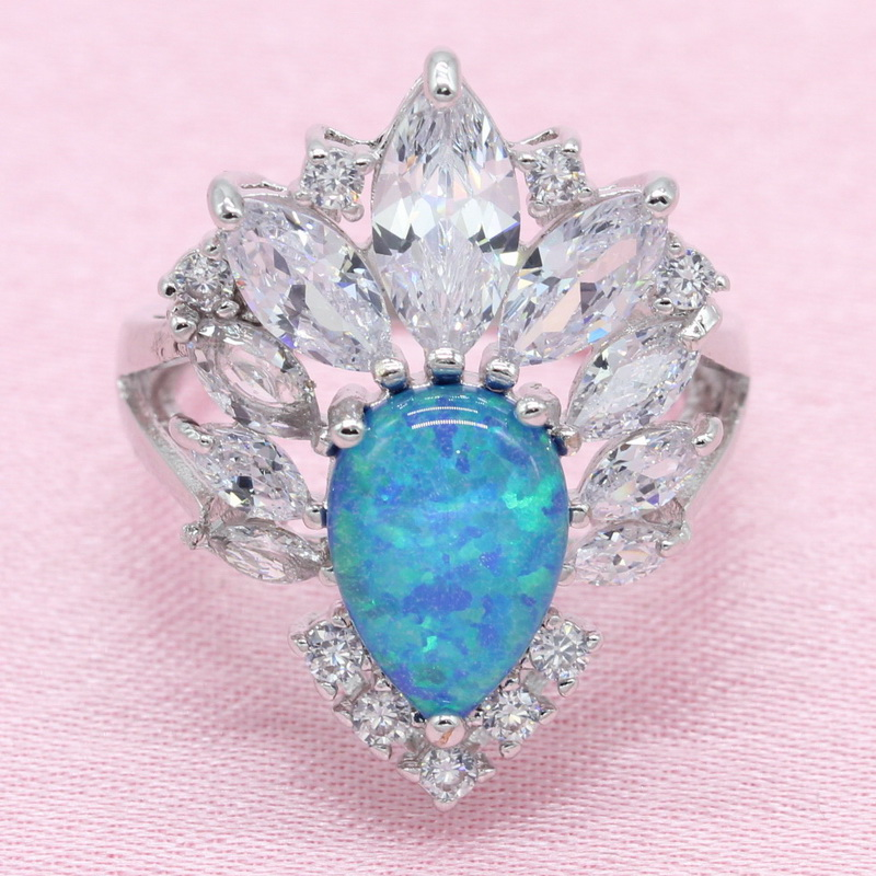 b3d6d9778d75 Exquisita gota de agua azul crear ópalo 925 Plata joyería conjuntos ...