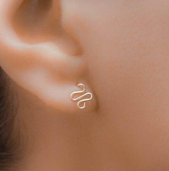 PINJEAS Handmade Tiny Dainty Snake Wave  Minimalist Stud Earrings for Women Personalize Gift Jewelry,