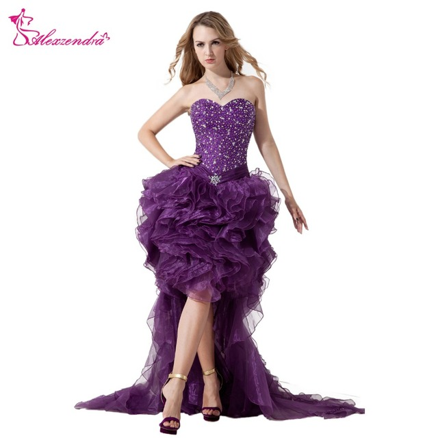 Alexzendra Purple Organza Beaded High Low Prom Dresses Plus Size ...