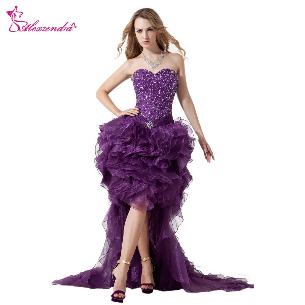 Alexzendra Purple Organza Beaded High Low   Prom     Dresses   Plus Size Sweetheart Ruffles Birthday Party   Dress