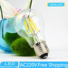 6PCS / lot free shipping 2700k LED Edison Bulb Indoor LED Light Clear Glass AC220 V E27 A60 CE 2W 4W 6W 8W LED Filament BULB(China)