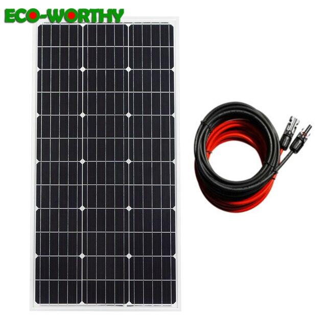 ECOworthy 100 Вт моно солнечная панель питания 100 Вт 18 в монокристаллическая панель с 5 м черный и красный Кабели для 12 в зарядное устройство
