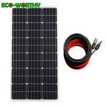 Sistema de panel de energía Solar mono 100W 100w 18V panel monocristalino con cables negros y rojos de 5m para cargador de batería de 12V