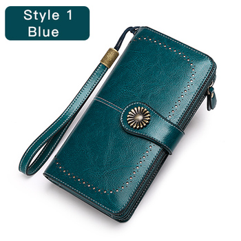 Vintage Style Split Leather Women's Wallet Bags and Wallets Hot Promotions New Arrivals Women's Wallets Color: Style 1 Blue Ships From: China