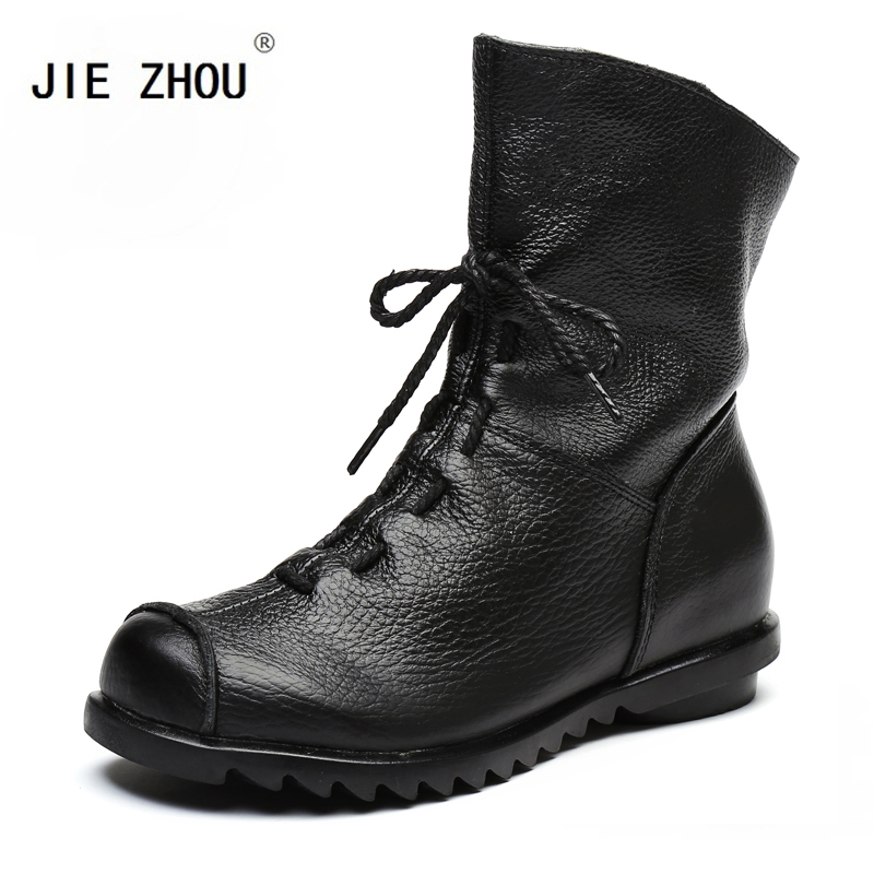 Spring Genuine Leather Women Ankle Boots High Quality Solid Colors Fashion Women s Boots Retro Handmade