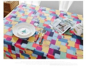 Image 5 - カラフルなチェック柄プリントテーブルクロス綿ダイニングテーブルカバー厚い綿防塵結婚式パーティーキッチンホームテキスタイル