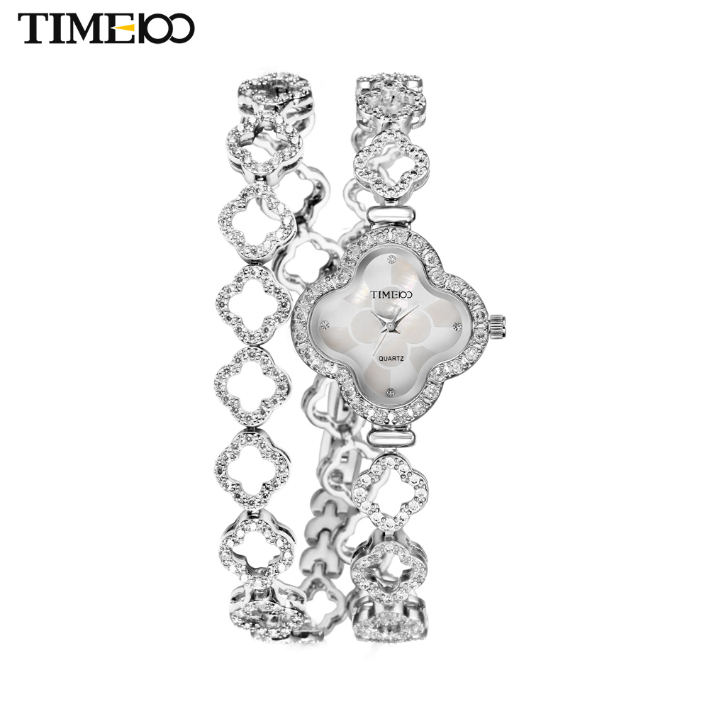New TIME100 Women's Quartz Watches Lucky Four-leaf Clover Diamond Case Steel Strap Bracelet Watches For Women relogio feminino new time a11