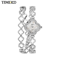 New TIME100 Women's Quartz Watches Lucky Four leaf Clover Diamond Case Steel Strap Bracelet Watches For Women relogio feminino