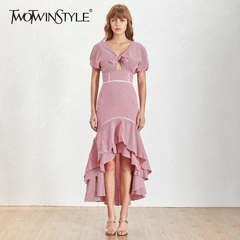 TWOTWINSTYLE Vintage Plaid Maxi Dress TDR19656