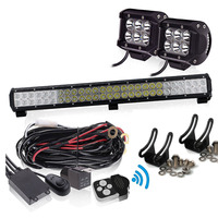 25 INCH LED Light Bar 16200LM 6000K Waterproof IP67 2pcs 18W 4 Pods 3LEAD Remote Switch