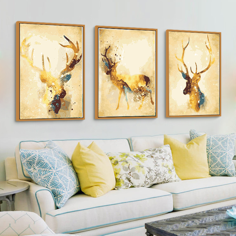 Triptych Nordic Abstract Gold Deer Elk Canvas Painting Noble Art ...